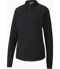 mesh golftrui voor dames, zwart, maat xl | puma