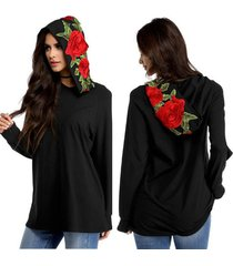 women autumn hoodies pullovers sweater lady casual long sleeve rose embroidery
