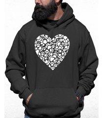 men's paw prints heart word art hooded sweatshirt