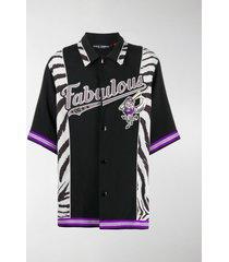 dolce & gabbana zebra print insert baseball shirt