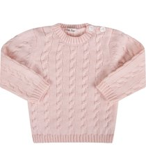 little bear pink babygirl sweater with cable-knit