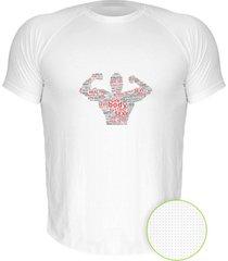 camiseta manga curta nerderia bodybuilding branco