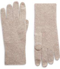 women's halogen cashmere tech gloves, size one size - beige