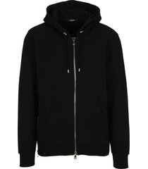 balmain black cotton hooded sweatshirt with balmain logo