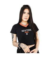 camiseta cropped prison new york track orange feminina