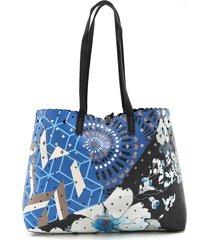 bolsa sacola desigual dupla face com necessaire azul - kanui