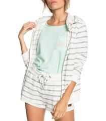 women's roxy perfect wave stripe terry zip hoodie, size medium - white