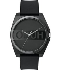 hugo unisex's #play black rubber strap watch 40mm