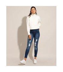 calça cigarrete push up jeans destroyed cintura alta sawary azul escuro