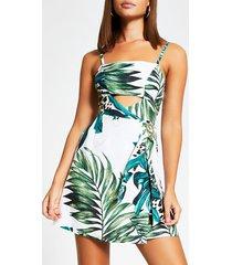 river island womens white leaf print cutout beach mini dress