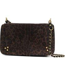 jérôme dreyfuss bobi leopard print shoulder bag - brown