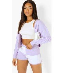 oversized geruite trui en shorts set, lilac