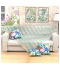 manta de sofá listrada decorativa 1,50m x 1,50m + 3 almofadas decorativas 45cm x 45cm com refil