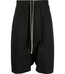 rick owens drawstring drop-crotch shorts - black