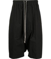 rick owens drawstring drop-crotch shorts - black