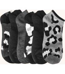 women's leopard no show socks, pack of 6