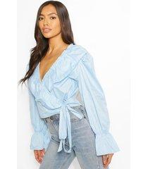 frill wrap shirt, pale blue