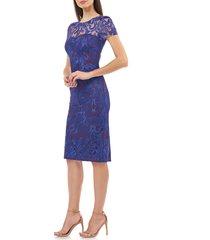 women's js collections lace cocktail dress, size 16 - purple