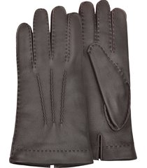 forzieri designer men's gloves, men's cashmere lined brown italian deer leather gloves