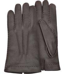 forzieri designer men's gloves, men's cashmere lined brown italian deer leather gloves