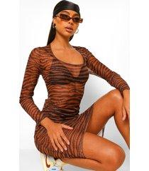 mesh tijgerprint midi jurk met lage ronde hals, tan