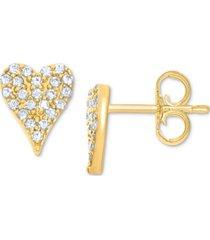 diamond heart stud earrings (1/10 ct. t.w.) in 10k white, yellow or rose gold