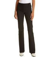 frame le high flare stretch cotton trouser pants, size 0 in noir at nordstrom