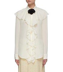 ruffle neck silk blouse