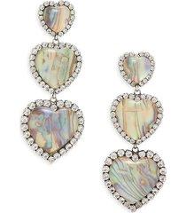 dannijo women's tate silverplated, resin stone & glass crystal triple-heart earrings