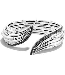 john hardy bamboo sterling silver & stone flex cuff bracelet, size medium in black sapphire at nordstrom