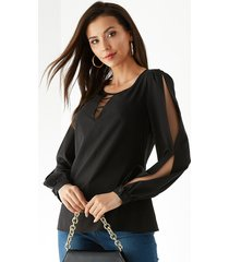 yoins blusa de manga larga con cuello redondo negro y diseño recortado