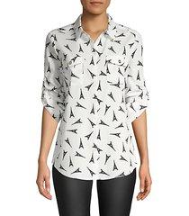 eiffel tower button blouse
