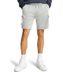 men's river island slim fit cargo sweat shorts, size x-large - grey