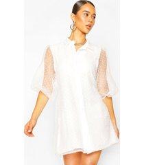 dobby organza blousejurk van mesh, wit