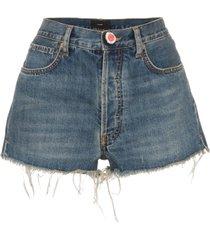 alanui crochet pocket denim shorts - blue