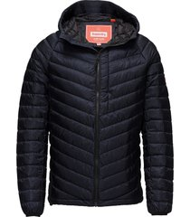 micro quilt down hooded jacket doorgestikte jas blauw superdry