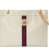 gucci large linea rajah leather tote - white