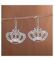 sterling silver filigree dangle earrings, 'princess tiara' (peru)