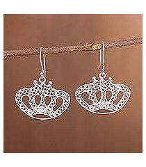 sterling silver filigree dangle earrings, 'princess tiara' (peru)