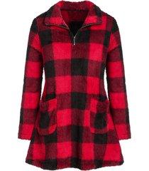 plus size plaid zipper pockets fuzzy sweatshirt