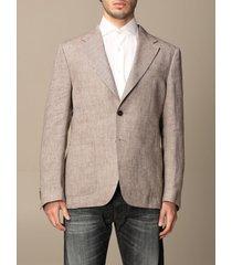 fay blazer single-breasted fay linen jacket