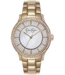 jessica simpson women's crystal encrusted gold tone bracelet watch 36mm
