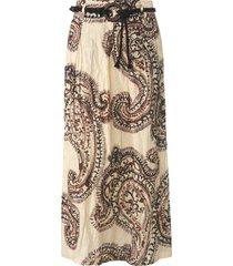 rok in gekreukte stijl met xl-ornamentenprint van gardeur beige