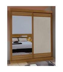 guarda roupa solteiro c/ espelho 2 portas 2 gavetas prestige móveis lopas marrom