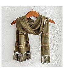 rayon scarf, 'mystic maya olive grove' (guatemala)