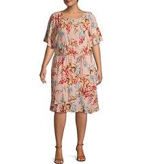 plus floral-print shift dress