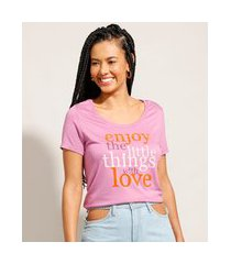 "camiseta longa enjoy"" manga curta decote redondo lilás"""