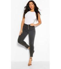 skinny jeans met hoge taille, zwart