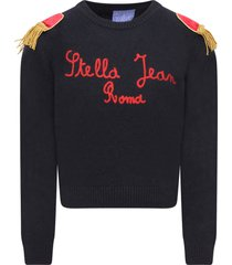 stella jean blue sweater with red logo for girl