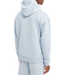 women's scotch & soda unisex felpa organic cotton hoodie, size medium - blue